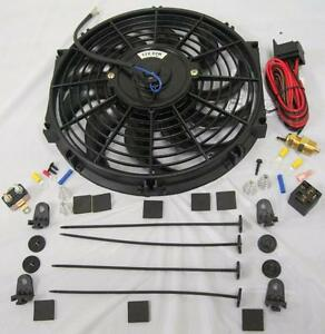 12 S blade Electric Radiator Cooling Fan Thermostat Relay Mount Kit High Cfm