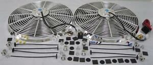 Dual 16 Chrome Electric Radiator Cooling Fans Relay Thermostat Install Kit