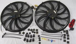 Dual 16 Curved Heavy Duty Electric Radiator Cooling Fans Thermostat Mount Kit