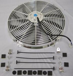 16 Universal Chrome S Blade Electric Radiator Cooling Fan W Mounting Kit