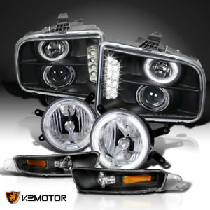 2005 2009 Mustang Black Led Halo Projector Headlight bumper clear Fog Lamps