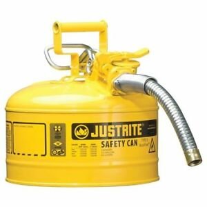 Justrite 7225230 2 1 2 Gal Yellow Steel Type Ii Safety Can For Diesel