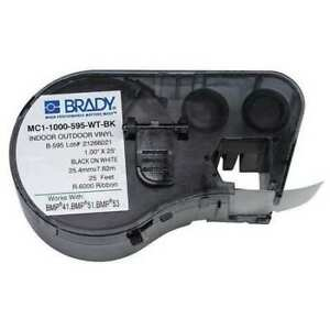 Brady Mc1 1000 595 wt bk Label Tape Cartridge Black white 25 Ft
