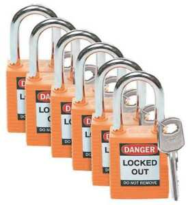 Lockout Padlock ka orange 1 3 4 h pk6 Brady 123270