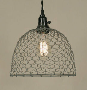 Country Chicken Wire Dome Hanging Light Plug In Light