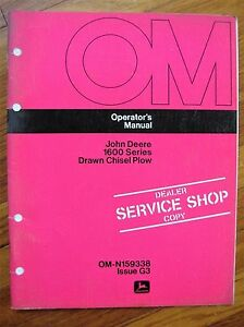John Deere 1600 Drawn Chisel Plow Operator s Manual 1608 1611 1620 1623
