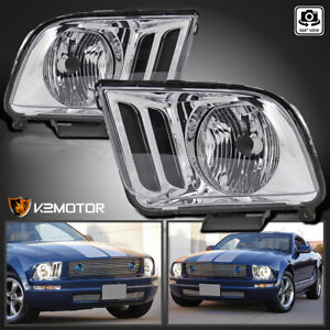 For 2005 2009 Ford Mustang Crystal Clear Headlights Head Lamps Left Right Pair