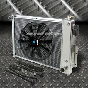 3 row Aluminum Radiator 1x 16 fan Black For 67 69 Chevy Camaro firebird T a V8
