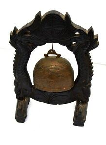 Antique Chinese Hand Carved Wood And Bronze Gong Bell