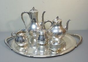 5 Pc Mexico Sterling Silver Coffee Tea Set Huge 22 5 Sterling Silver Tray