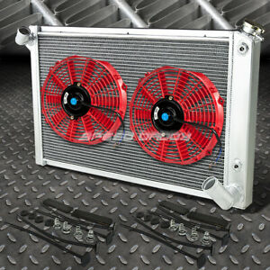 3 Row Aluminum Radiator 2x 10 Fan Red For 68 82 Chevy Small Block Corvette V8