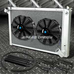 3 Row Aluminum Radiator 2x 12 Fan Oil Cooler Black For 68 82 Small Block C3 V8