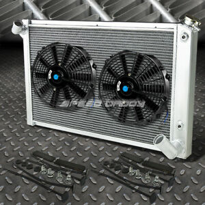 3 Row Aluminum Radiator 2x 12 Fan Black For 68 82 Chevy Small Block Corvette V8