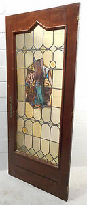 Tall Antique Vintage Stained Glass Art Door 1453 Nj