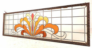 Large Vintage Stained Glass Window 1512 Nj