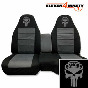 Designcovers Seat Covers 60 40 Hi Back Fit 91 12 Ranger Blk Charcoal R Skull