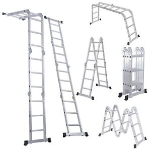 12 5ft Extension Multifunction Aluminum Folding Step Ladder Scaffold W 2 Plates
