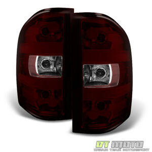 Red Smoked 2007 2013 Chevy Silverado Gmc Sierra Tail Lights Lamps Set Left right