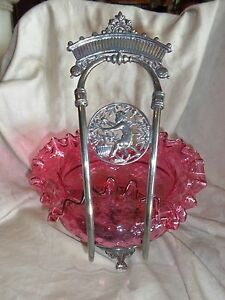 Antique Victorian Meriden Silverplate Brides Basket Cherub Cranberry Glass Bowl