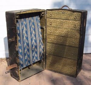 Antique Early 1900 S Henry Likly Steamer Wardrobe Travel Trunk Local Pick Up