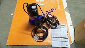 Dayton 3bb77 Sump Pump 1 2 Hp 1 1 2 Npt 15 Ft Effluent Tether Submersible