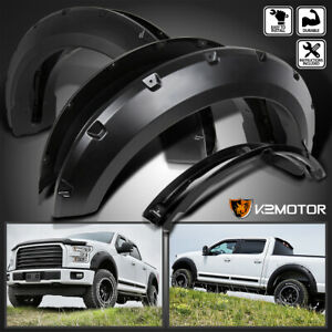 Fits 2015 2017 Ford F150 Pocket Rivet Style Black Wheel Fender Flares Cover 4pc