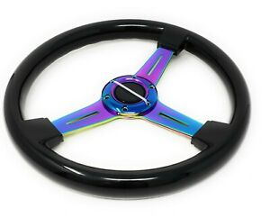 Universal Steering Wheel 350mm Classic Wood Grain Black Neo Chrome Spoke