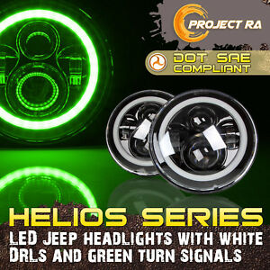 P ra 2x 7 Inch Cree Led Headlight Angel Eye Halo Drl White Green Jeep Wrangler