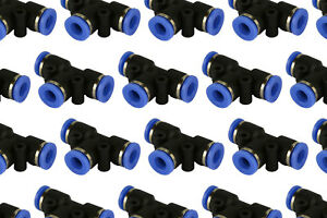 25 Piece Pneumatic Air Quick Push To Connect Fitting 1 4 Od t Tee Tube 6mm