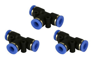 3 Piece Pneumatic Air Quick Push To Connect Fitting 1 4 Od t Tee Tube 6mm