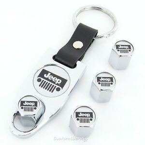 Jeep Grill Logo Chrome Tire Stem Valve Caps Wrench Key Chain