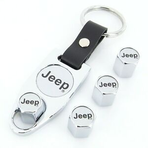 Jeep Silver Logo Chrome Tire Stem Valve Caps Wrench Key Chain