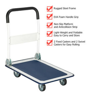 Portable Folding Platform Cart Dolly Push Hand Truck Foldable 330lbs Capacity
