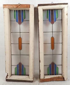 Pair Of Vintage Stained Glass Window Panels 2760 Nj