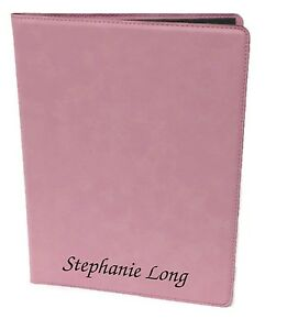 Personalized Jr Portfolio Pink Leatherette Engraved Free Padfolio Note Pad