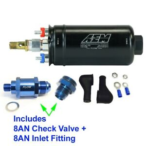 Genuine Aem 50 1009 400lph Inline Fuel Pump 8an Inlet Fitting 8an Check Valve