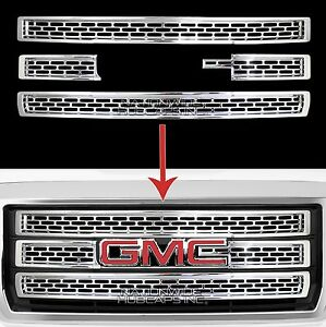 2014 15 Gmc Sierra 1500 Chrome Snap On Grille Overlay 3 Bar Grill Covers Inserts