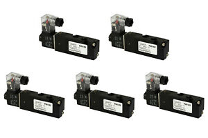 5x 24v Ac Solenoid Air Pneumatic Control Valve 5 Port 4 Way 2 Position 1 8 Npt
