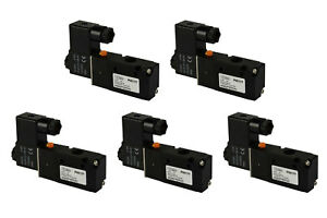 5x 24v Dc Solenoid Air Pneumatic Control Valve 3 Port 3 Way 2 Position 1 4 Npt