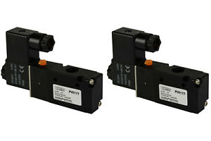 2x 24v Dc Solenoid Air Pneumatic Control Valve 3 Port 3 Way 2 Position 1 4 Npt