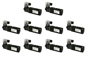10x 24v Ac Solenoid Air Pneumatic Control Valve 5 Port 4 Way 2 Position 1 8 Npt