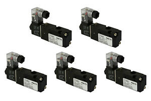 5x 24v Ac Solenoid Air Pneumatic Control Valve 3 Port 3 Way 2 Position 1 8 Npt