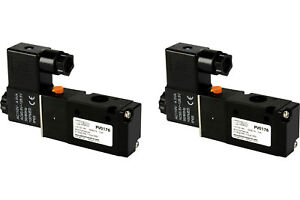 2x 110v Ac Solenoid Air Pneumatic Control Valve 3 Port 3 Way 2 Position 1 4 Npt