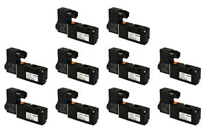 10x 12v Dc Solenoid Air Pneumatic Control Valve 3 Port 3 Way 2 Position 1 4 Npt