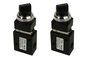 2x Latching Rotary Knob Pneumatic Control Valve 3 Port 3 Way 2 Position 1 4 Npt