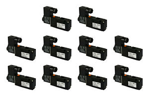 10x 24v Ac Solenoid Air Pneumatic Control Valve 3 Port 3 Way 2 Position 1 4 Npt