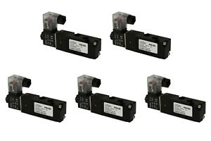 5x 110v Ac Solenoid Air Pneumatic Control Valve 5 Port 4 Way 2 Position 1 8 Npt