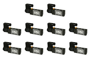 10x 12v Dc Solenoid Air Pneumatic Control Valve 5 Port 4 Way 2 Position 1 4 Npt