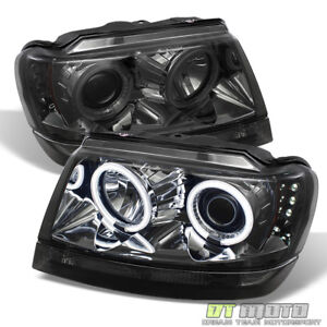 Smoked 99 04 Jeep Grand Cherokee Ccfl Halo Projector Led Headlights Left right