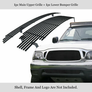 Fits 2001 2004 Toyota Tacoma Stainless Steel Black Billet Grille Combo